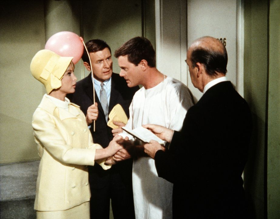 Roger (Bill Daily, 2.v.l.) und Jeannie (Barbara Eden, l.) sind traurig, als Tony (Larry Hagman, 2.v.r.) nach der Aufhebung des Zaubers nicht mehr da... - Bildquelle: Columbia Pictures