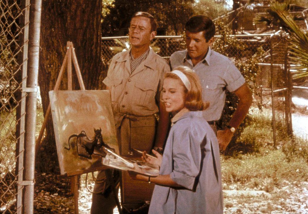 Paula (Cheryl Miller, M.) geht ihrem Hobby nach und malt Tierporträts unter den kritischen Augen ihres Vaters (Marshall Thompson, l.) und Jacks (Yal... - Bildquelle: CBS Television