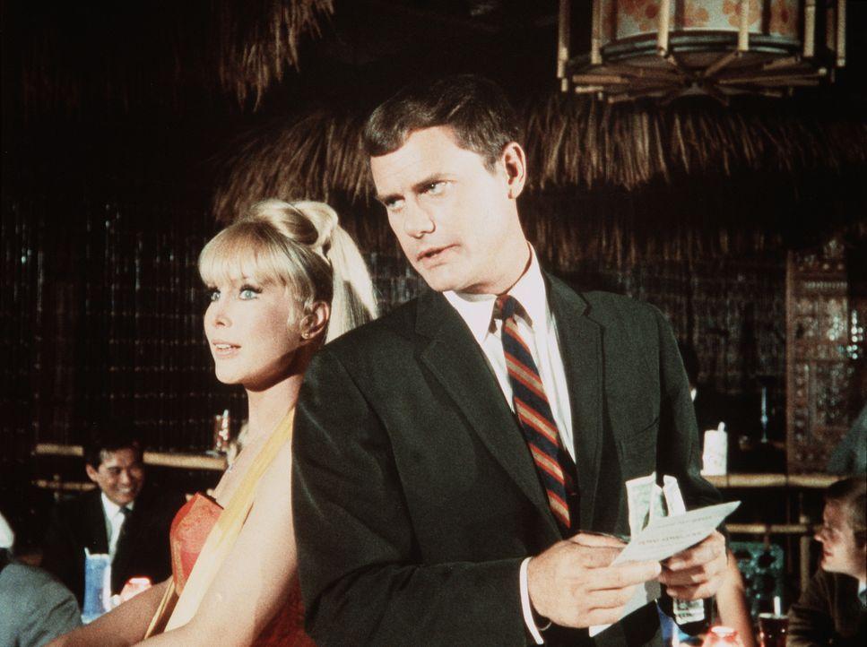 Jeannie (Barbara Eden, l.) versucht, Tony (Larry Hagman, r.) unauffällig bei der Durchführung seines angeblichen Geheimauftrags zu helfen. - Bildquelle: Columbia Pictures