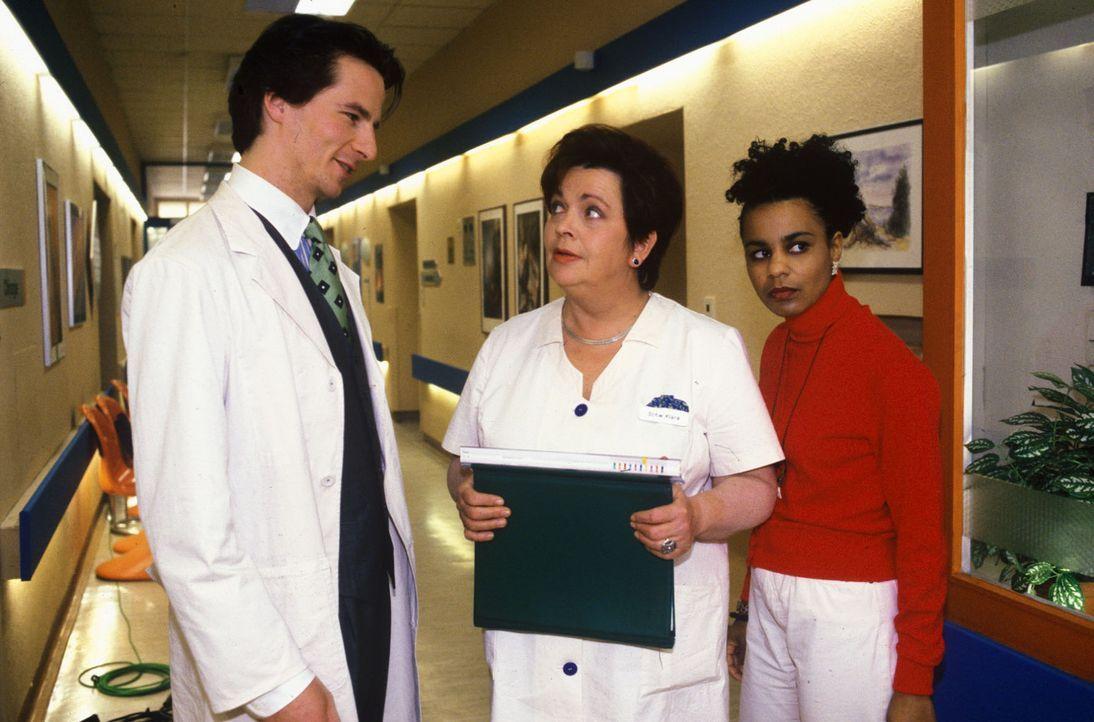Schwester Klara (Walfriede Schmitt, M.) begrüßt den neuen Arzt Dr. Meier-Liszt (David C. Bunners, l.). Schwester Maria (Adisat Semenitsch, r.) hat... - Bildquelle: Noreen Flynn Sat.1