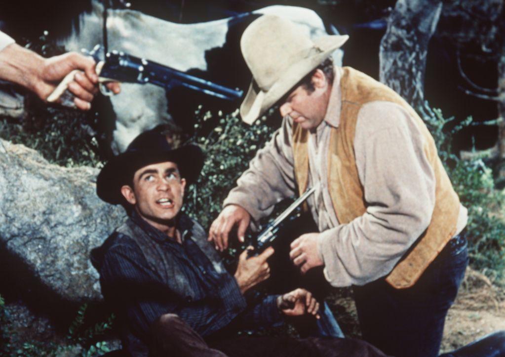 Zu seiner Überraschung muss Hoss Cartwright (Dan Blocker, r.) feststellen, dass der vermeintlich verletzte Reisende ein Gauner ist, der ihn überfall... - Bildquelle: Paramount Pictures