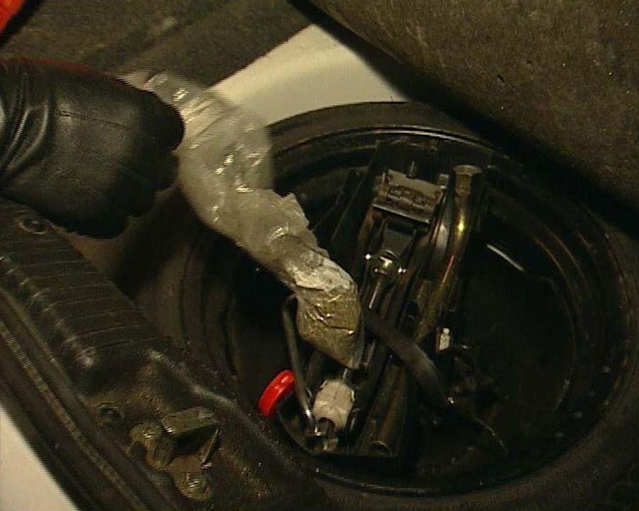Auf dem Weg zur großen Goa-Party wird fast jedes Auto kontrolliert. Die Kontrolle lohnt sich, wie man sieht: Im Kofferraum ist Gras versteckt. Die P... - Bildquelle: Sat.1