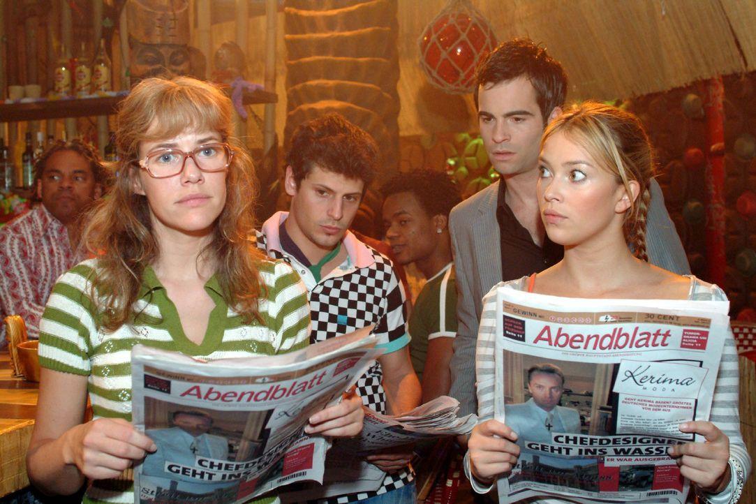 Lisa (Alexandra Neldel, l.), Rokko (Manuel Cortez, 2.v.l.), David (Mathis Künzler, 2.v.r.) und Hannah (Laura Osswald, r.) sind entsetzt, was die Zei... - Bildquelle: Monika Schürle Sat.1