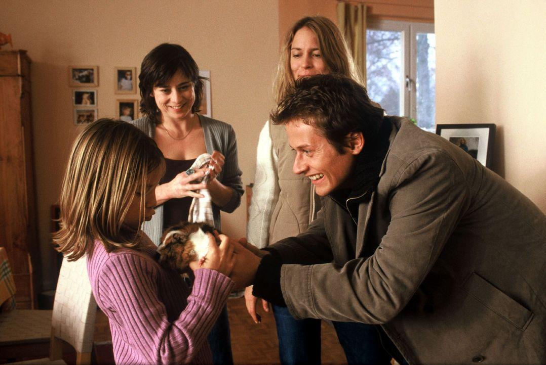 Alles ist gut: Lilly (Sina Richardt, l.) bekommt von Daniel (Roman Knizka, r.) ein Meerschweinchen geschenkt und Sabine (Inka Friedrich, 2.v.l.) hat... - Bildquelle: Volker Roloff Sat.1
