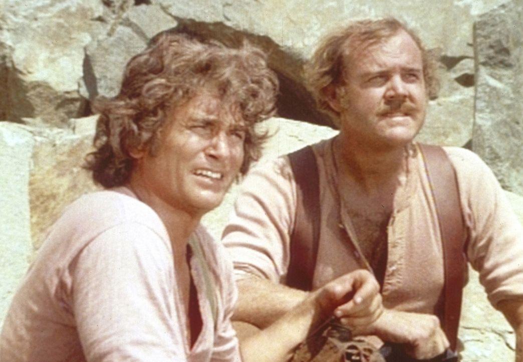 Charles (Michael Landon, l.) und sein neuer Freund Jacob (Richard O. Hurst, r.) arbeiten in einem Steinbruch. - Bildquelle: Worldvision