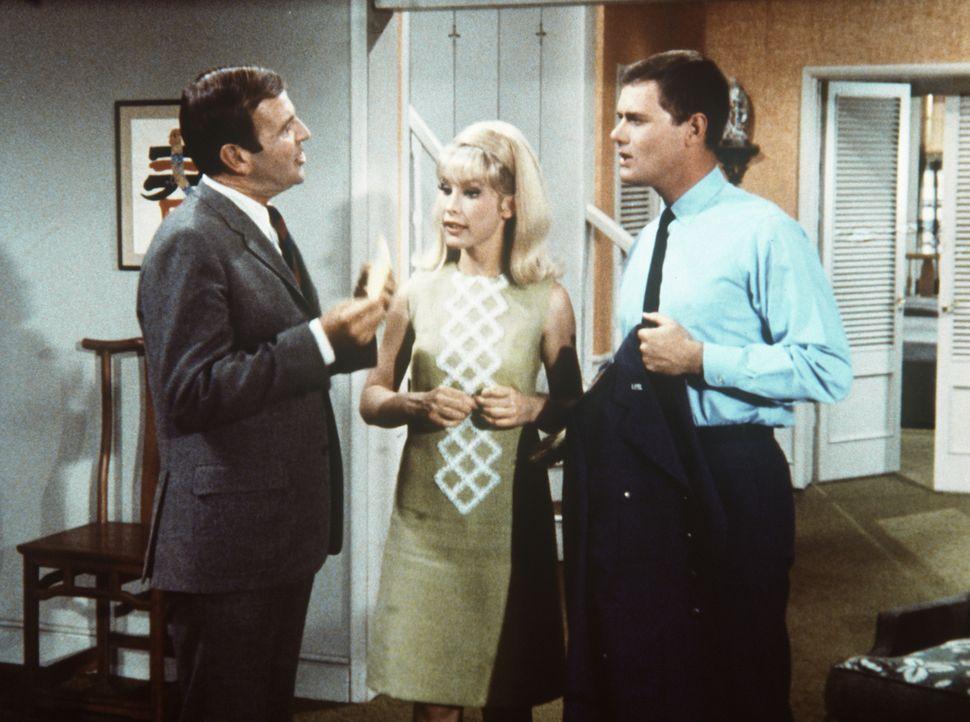 Jeannie (Barbara Eden, M.) hat dem Steuerbeamten Huggins (Paul Lynde, l.) gesagt, dass ihr Meister Tony (Larry Hagman, r.) ein großer Kunstsammler i... - Bildquelle: Columbia Pictures