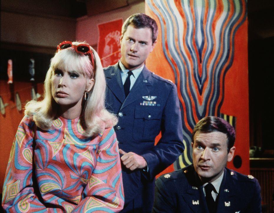 Tony (Larry Hagman, M.) und Roger (Bill Daily, r.) sind von der neuen Dekoration in Tonys Wohnung, die Jeannie (Barbara Eden, l.) zu verantworten ha... - Bildquelle: Columbia Pictures