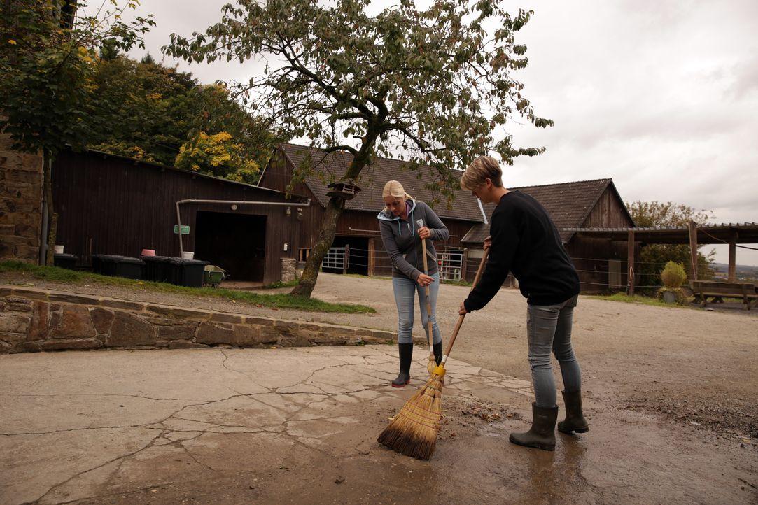 Auch auf dem Reiterhof fällt immer viel Arbeit an: Tanja (l.) und Katrin (r.) im Dauereinsatz ... - Bildquelle: BluePrint Media GmbH 2017