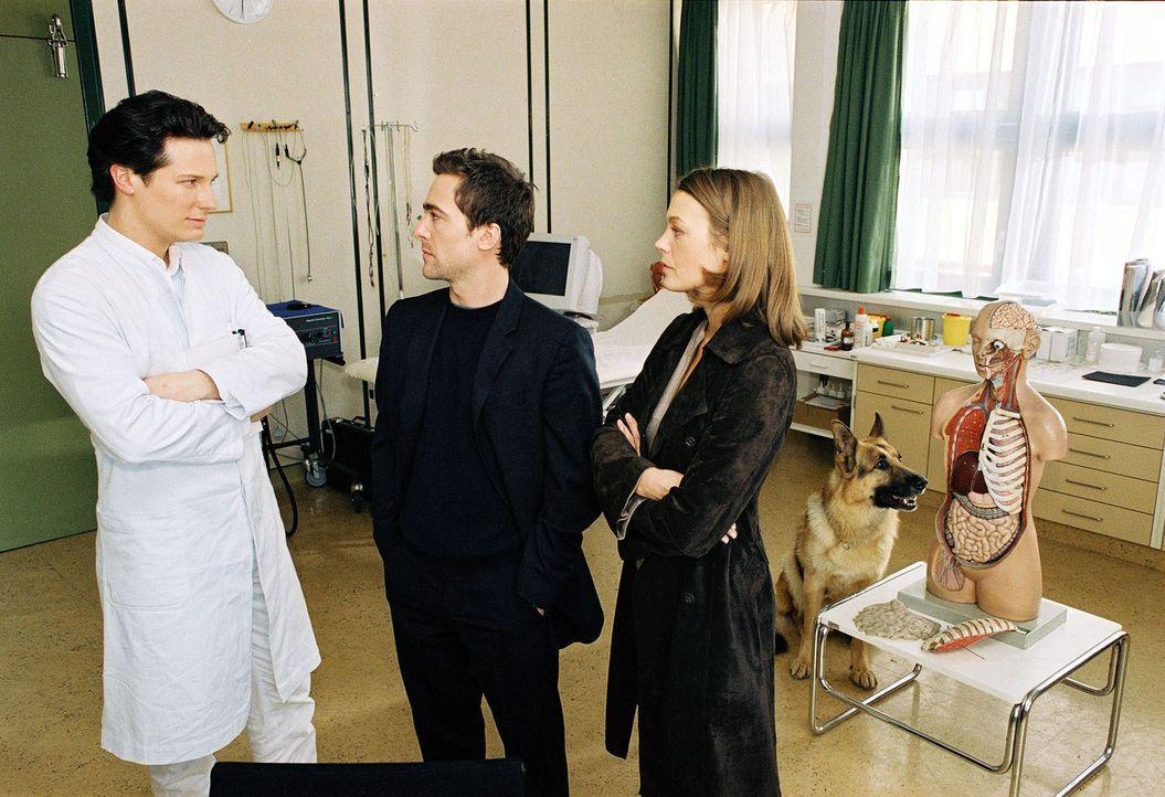 Dr. Meier (Max Urlacher, l.) wird im Spital von Marc Hoffmann (Alexander Pschill, M.) und Niki Herzog (Elke Winkens, r.) verhört ... - Bildquelle: Ali Schafler Sat.1
