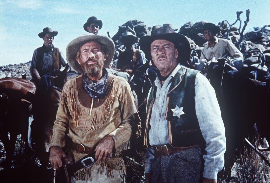 Flint Johnsons (Onslow Stevens, vorne l.), Frau wurde von Marks ermordet. Nun hat ert einen Suchtrupp zusammengestellt, um den Mörder zu fassen ... - Bildquelle: Paramount Pictures