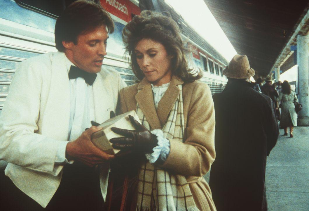 Der Agent Lee Stetson (Bruce Boxleitner, l.) überreicht der Hausfrau und Mutter Amanda (Kate Jackson, r.) ein Päckchen mit hochbrisantem Inhalt. Als... - Bildquelle: CBS Television
