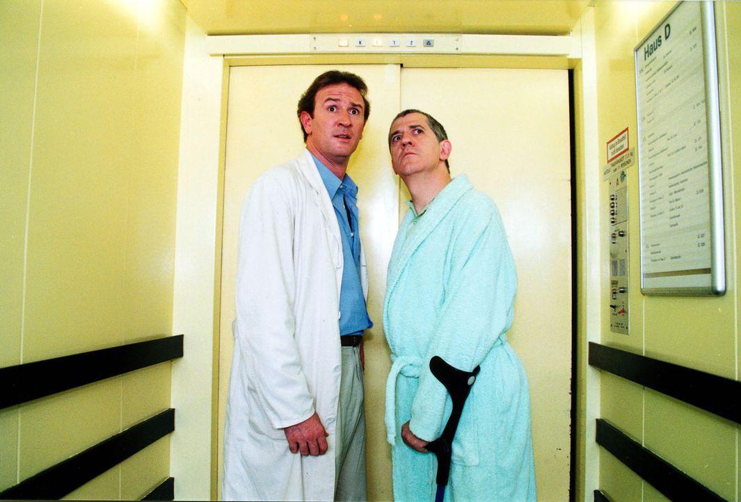 Dr. Forch (Stefan Walz, l.) will Rudolf Bittermann (Ilja Richter, r.) von seiner Klaustrophobie heilen und fährt deshalb mit ihm Fahrstuhl. Als der... - Bildquelle: Noreen Flynn Sat.1