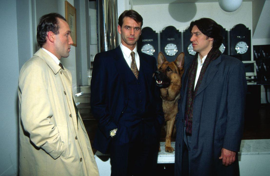 Kommissar Moser (Tobias Moretti, r.), sein Assistent Stockinger (Karl Markovics, l.) und Rex unterhalten sich mit Georg Hellwig (Christian Haid, M.)... - Bildquelle: Ali Schafler Sat.1
