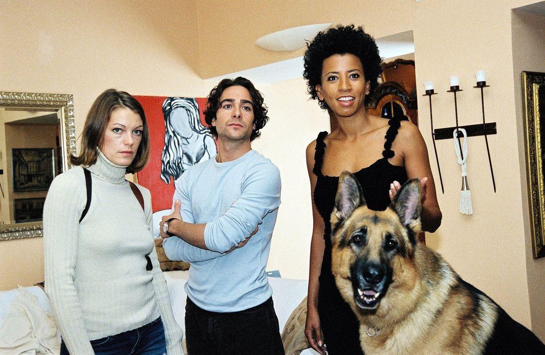 Niki (Elke Winkens, l.), Marc (Alexander Pschill, M.) und Rex besuchen die Radiomoderatorin Nina (Arabella Kiesbauer, r.) in ihrer Wohnung. - Bildquelle: Ali Schafler Sat.1