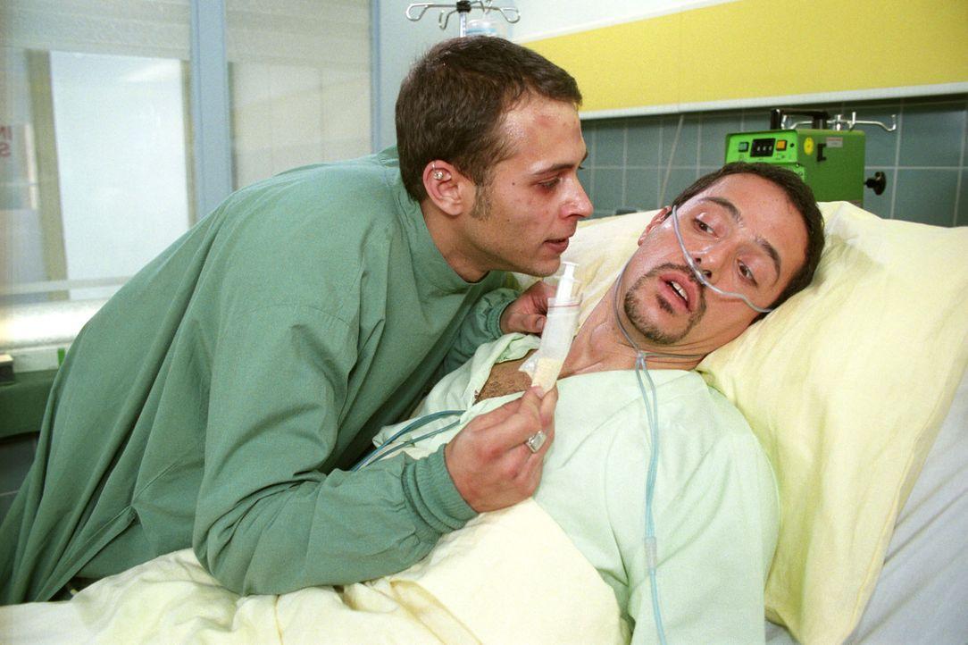 Der erfolgreiche Sportler Tino Sandmann (Markus Pfeiffer, r.) ist verzweifelt, als die Ärzte nach einem Zusammenbruch bei ihm eine Herzmuskelerweite... - Bildquelle: Noreen Flynn Sat.1