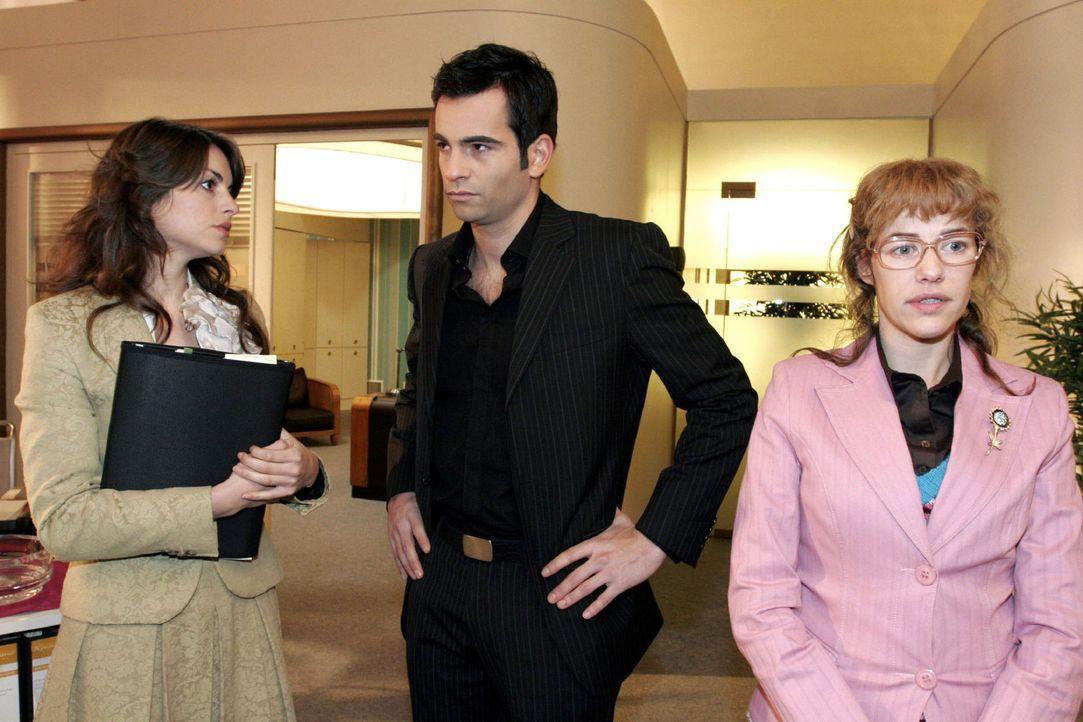 Rokko sorgt für Gesprächsstoff zwischen Mariella (Bianca Hein, l.), David (Mathis Künzler, M.) und Lisa (Alexandra Neldel, r.). (Dieses Foto von Ale... - Bildquelle: Noreen Flynn Sat.1