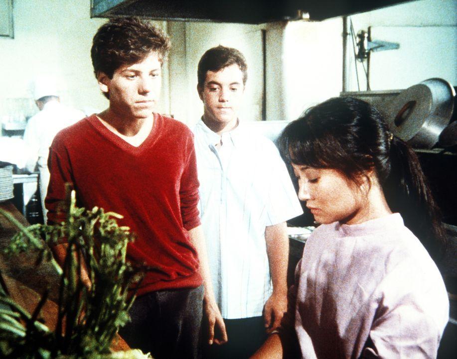 Brad (Billy Jacoby, M.) und Larry (K.C. Martel, l.) haben ihren Fehler eingesehen und bitten Nguyen (Denice Kumagai, r.) um Verzeihung. - Bildquelle: Worldvision Enterprises, Inc.