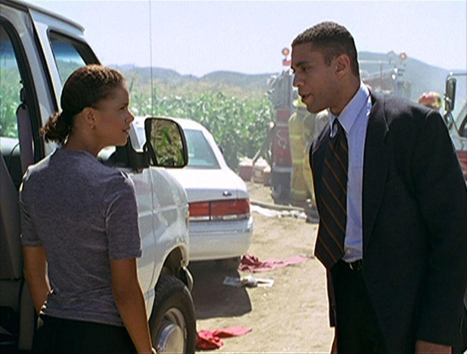 FBI-Agent Wagner (Harry J. Lennix, r.) und Amanda (Victoria Rowell, l.) streiten sich darüber, wer für die Untersuchung des Flugzeugabsturzes zustän... - Bildquelle: Viacom