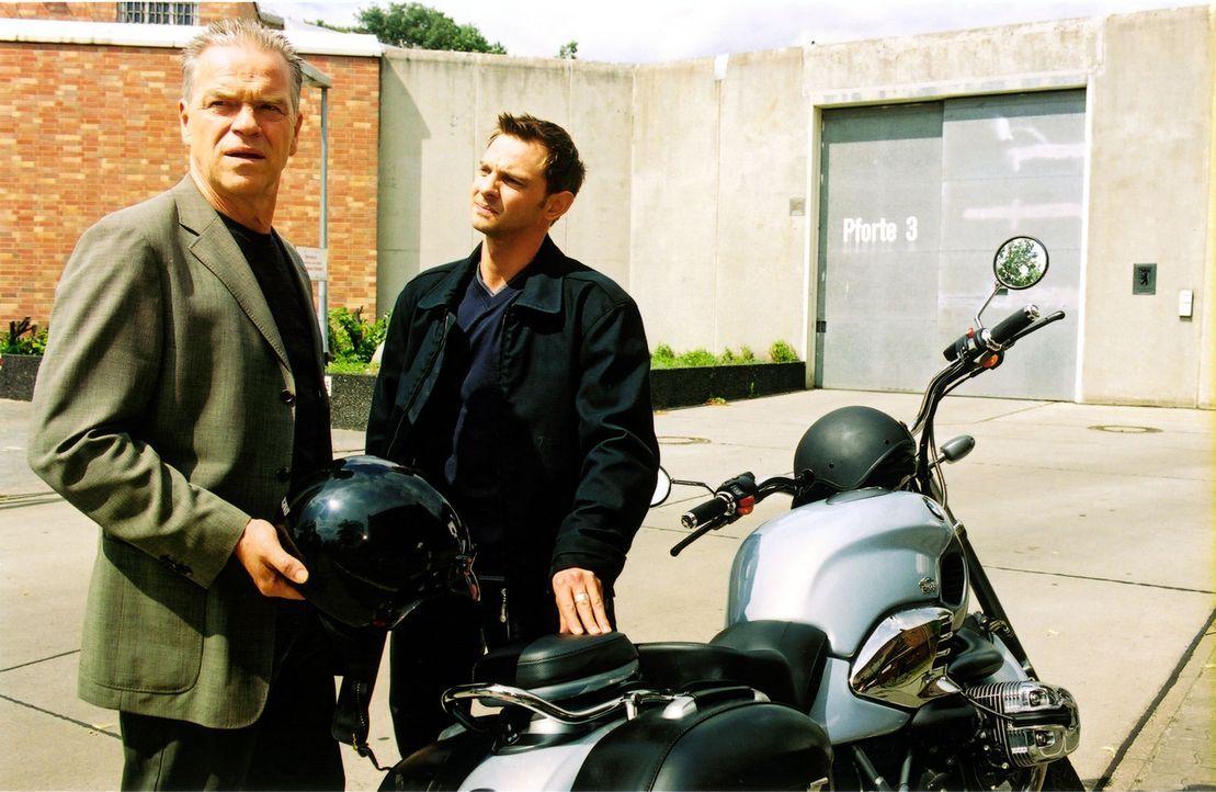 Kommissar Wolff (Jürgen Heinrich, l.) und Tom (Steven Merting, r.) sind verwundert, dass sich Richter Kneiff intensiv für die Ermittlungen im Zusamm... - Bildquelle: Claudius Pflug Sat.1