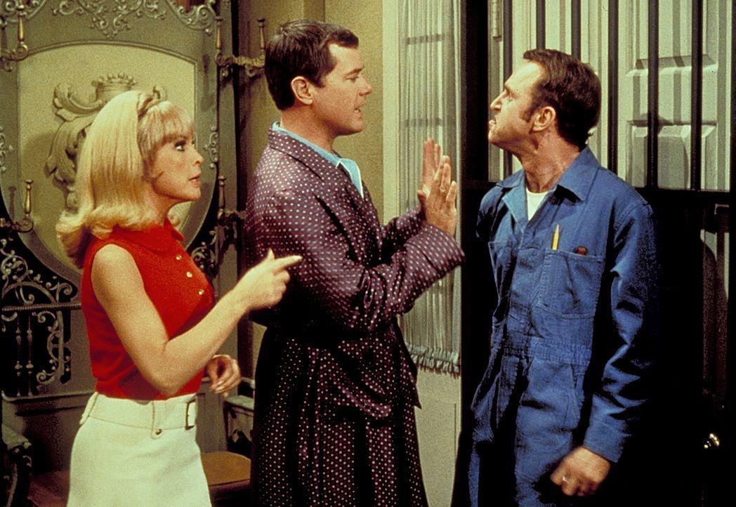 Jeannie (Barbara Eden, l.) und Tony (Larry Hagman, M.) entlarven den Journalisten Farnum (George Furth, r.), der sich als Installateur verkleidet ha... - Bildquelle: Columbia Pictures