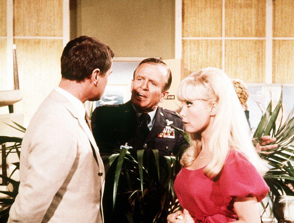 Jeannie (Barbara Eden, r.) und Tony (Larry Hagman, l.) proben mit Dr. Bellows (Hayden Rorke) die Hochzeitszeremonie. Chaos ist vorprogrammiert ... - Bildquelle: Columbia Pictures