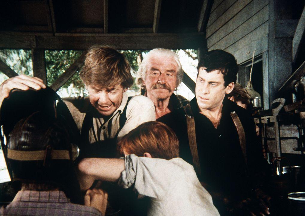John (Ralph Waite, l.), Sam (Will Geer, 2.v.l.) und alle Walton-Jungen helfen dem Postflieger Todd Cooper (Michael Glaser, r.), sein Flugzeug wieder... - Bildquelle: WARNER BROS. INTERNATIONAL TELEVISION