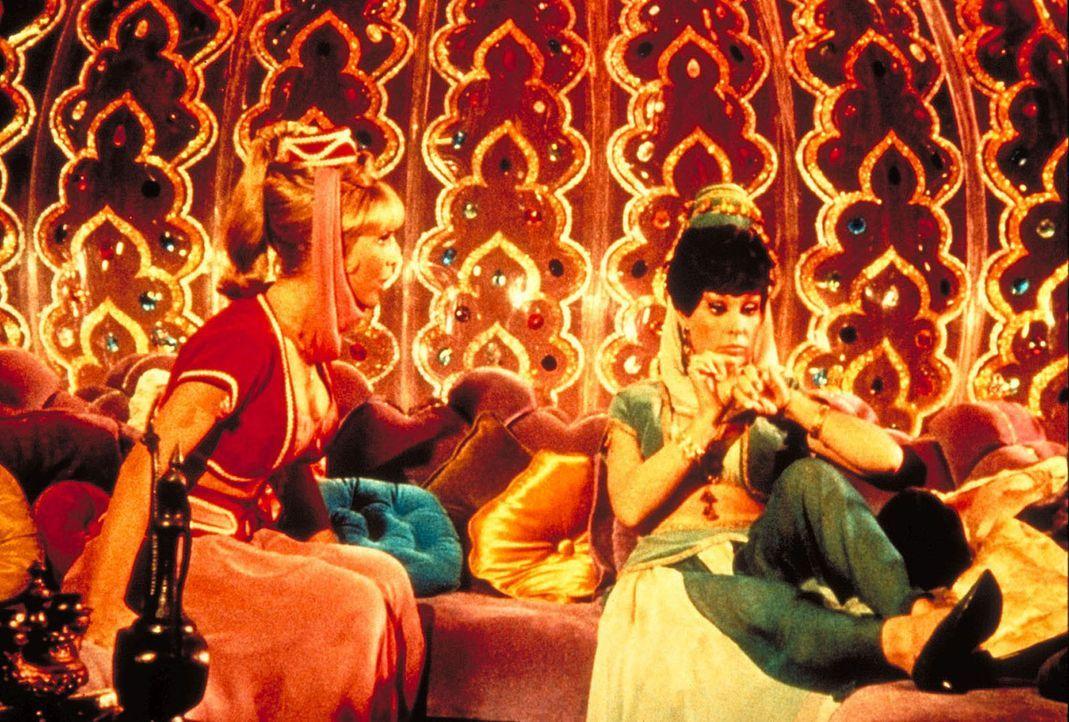 Jeannie (Barbara Eden, l.) bekommt von ihrer bösen Schwester (Barbara Eden, r.) Unterricht, wie man Astronauten dazu bringt zu heiraten. - Bildquelle: Columbia Pictures